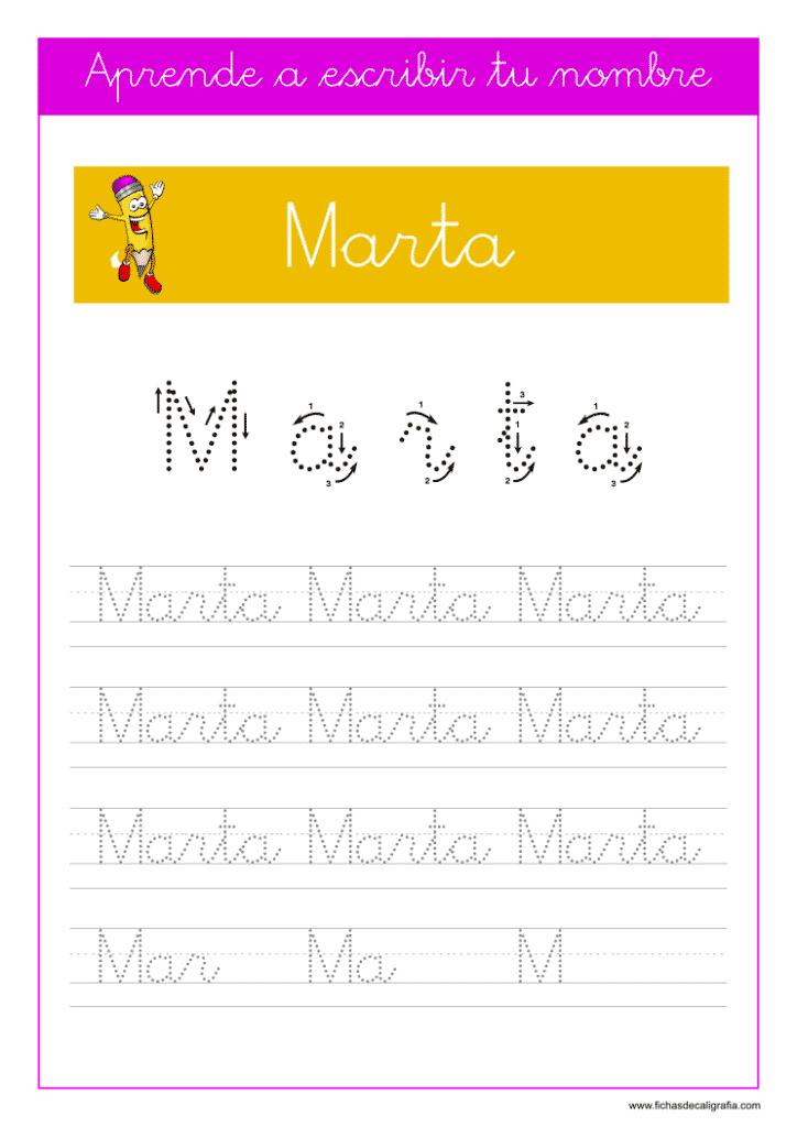 Caligrafía para aprender a escribir el nombre propio, Marta