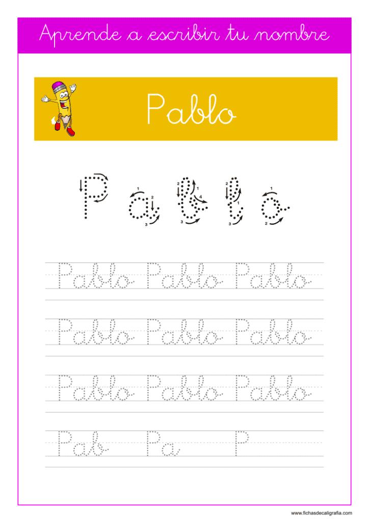 Caligrafía para aprender a escribir el nombre propio, Pablo