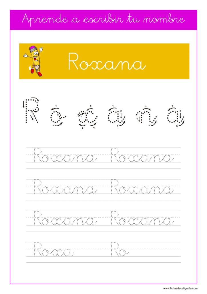 Caligrafía Roxana