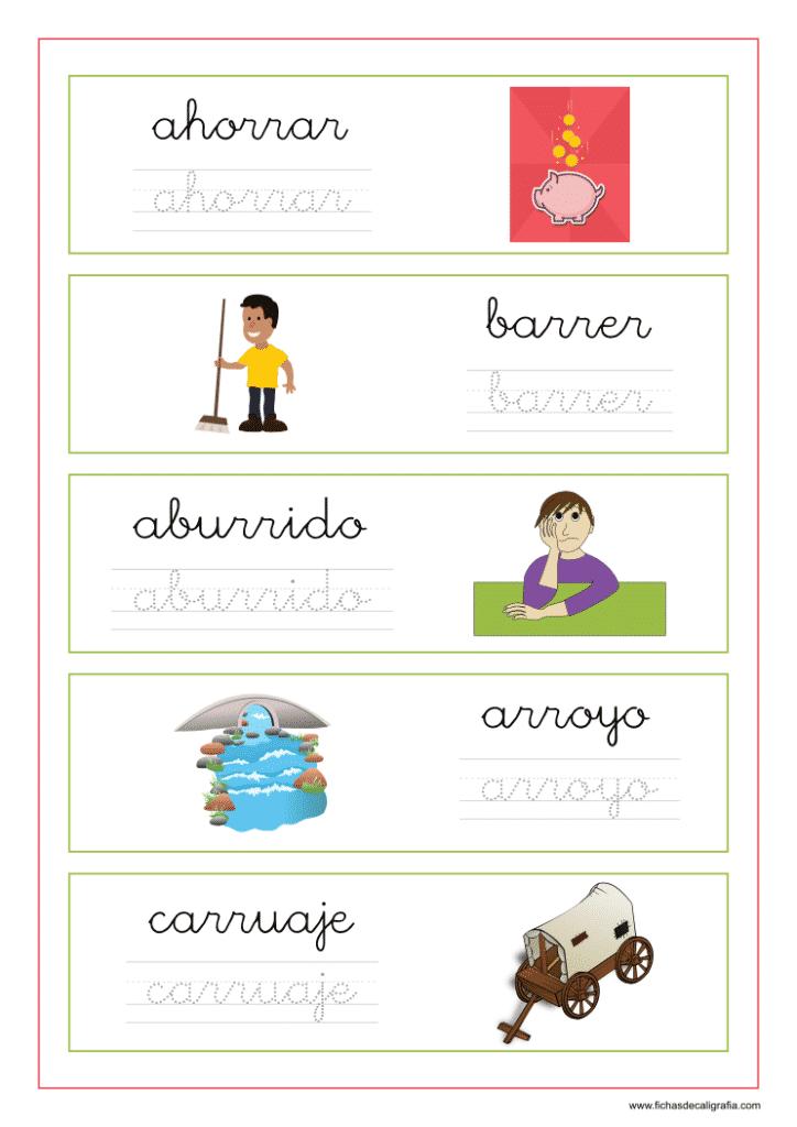 Ejercicio de lectoescritura con palabras que contienen rra-rre-rri-rro-rru