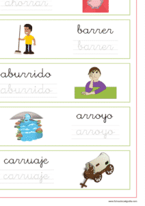 Ejercicio de lectoescritura con palabras que contienen rra-rre-rri-rro-rru, recursos educativos