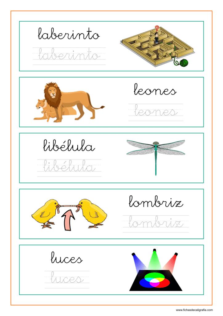 Ficha de lectoescritura con palabras que empiezan por la-le-li-lo-lu