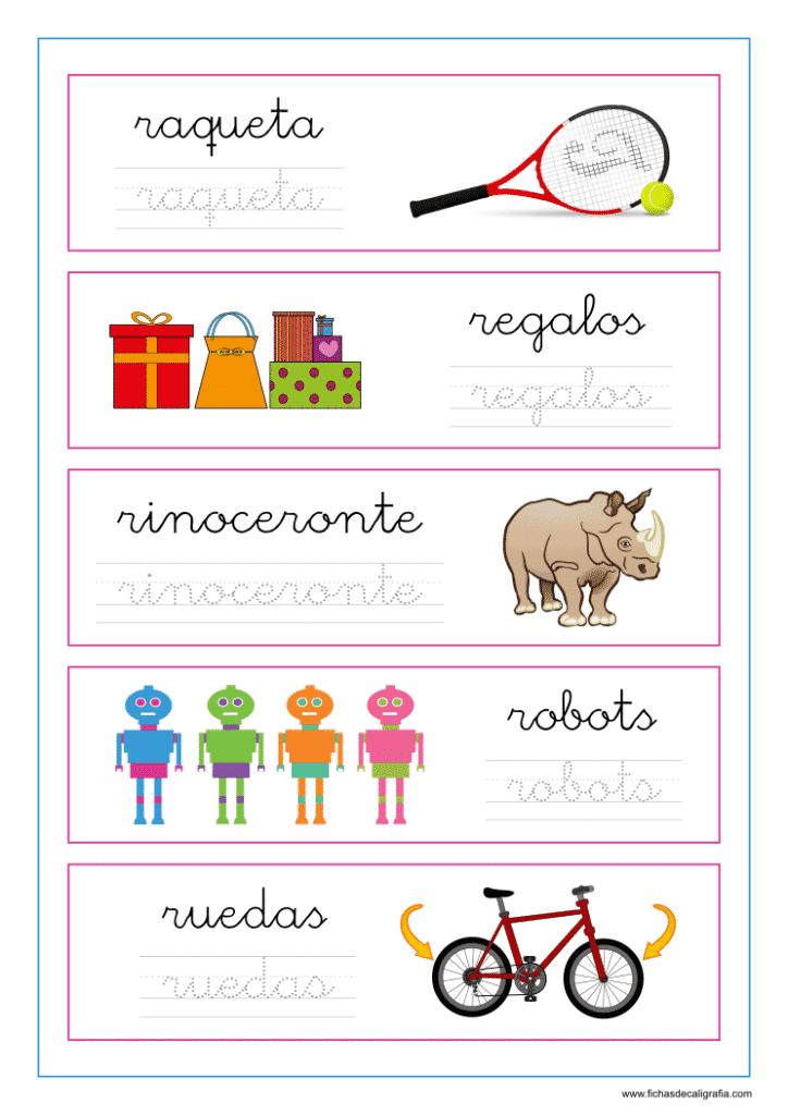 Ficha de lectoescritura con palabras que empiezan por ra-re-ri-ro-ru