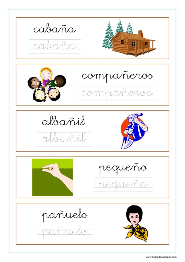 Ficha con palabras que contienen ña-ñe-ñi-ño-ñu
