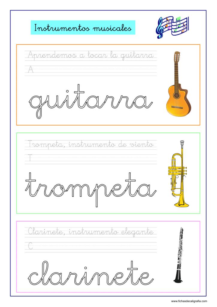 Ficha de Lectoescritura con instrumentos musicales