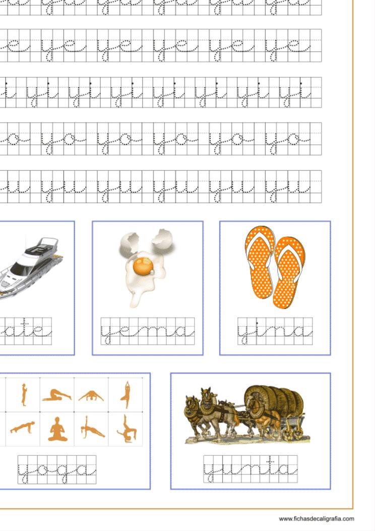 Ficha con sílabas y palabras en cuadrícula con ya-ye-yi-yo-yu, recursos educativos