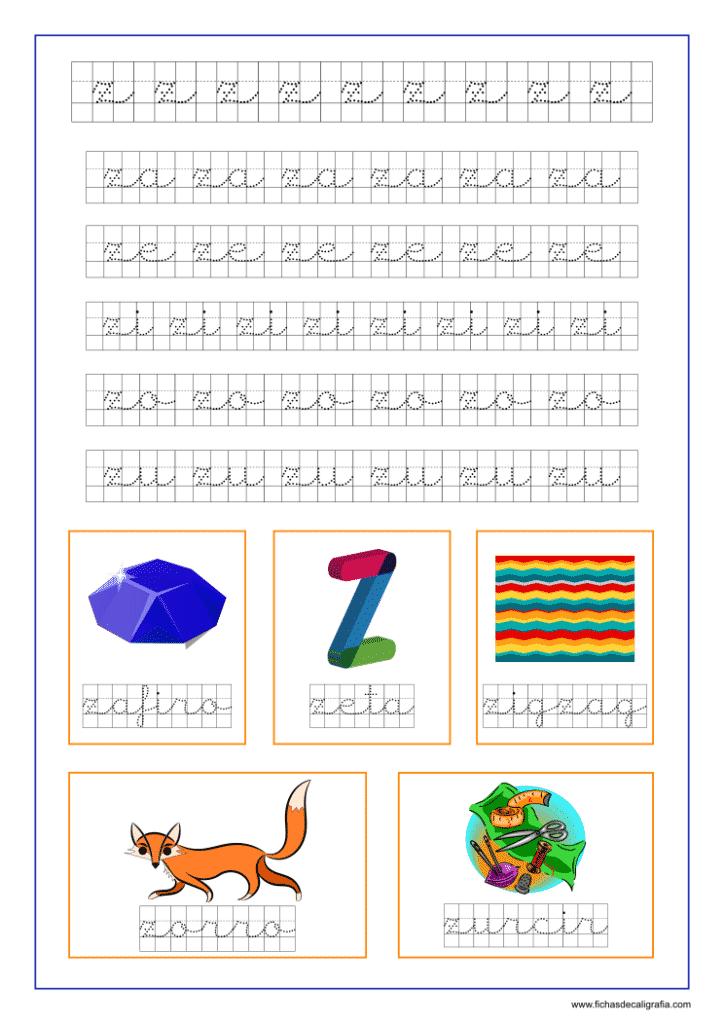 Ficha de la letra z en cuadrícula y las vocales