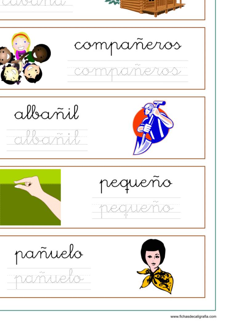 Ficha con palabras que contienen ña-ñe-ñi-ño-ñu, recursos educativos