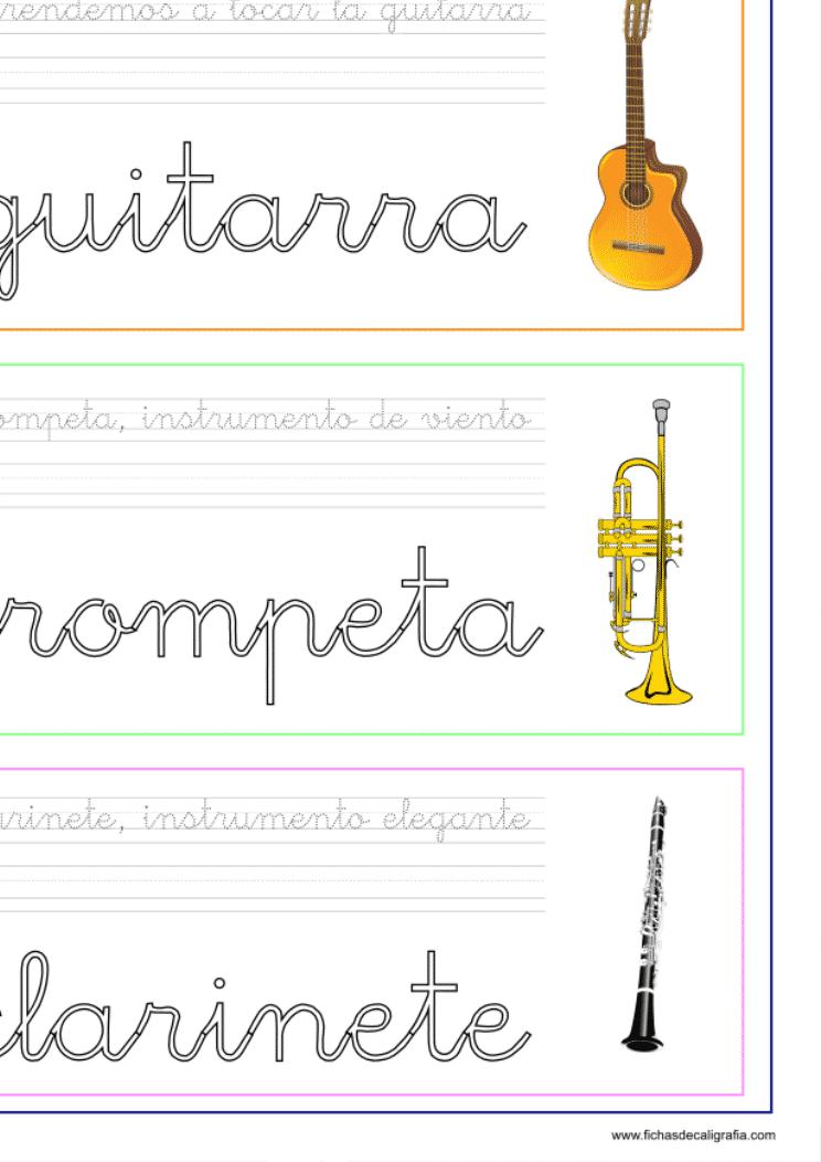 Recursos educativos, ficha de Lectoescritura con instrumentos musicales