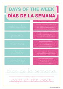 Ejercicio con los días de la semana en inglés y español