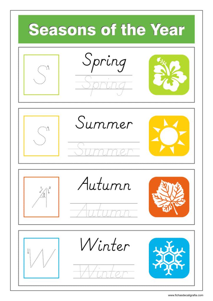 Ficha de lectoescritura de las 4 estaciones del año en inglés