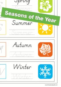 Ficha de lectoescritura de las 4 estaciones del año en inglés, recursos educativos