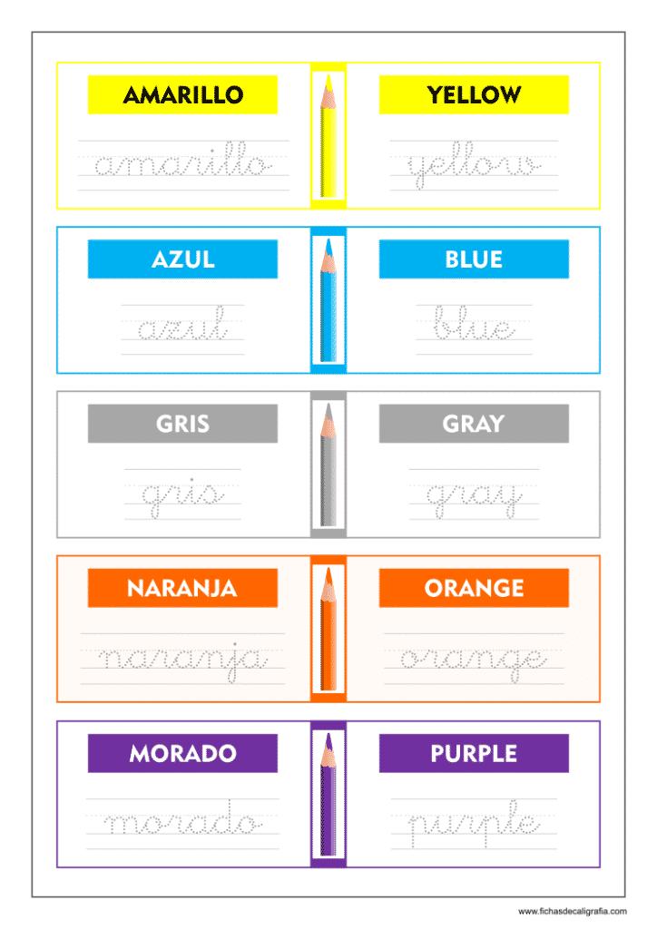 Ficha de caligrafia con los colores en ingles y español para niños