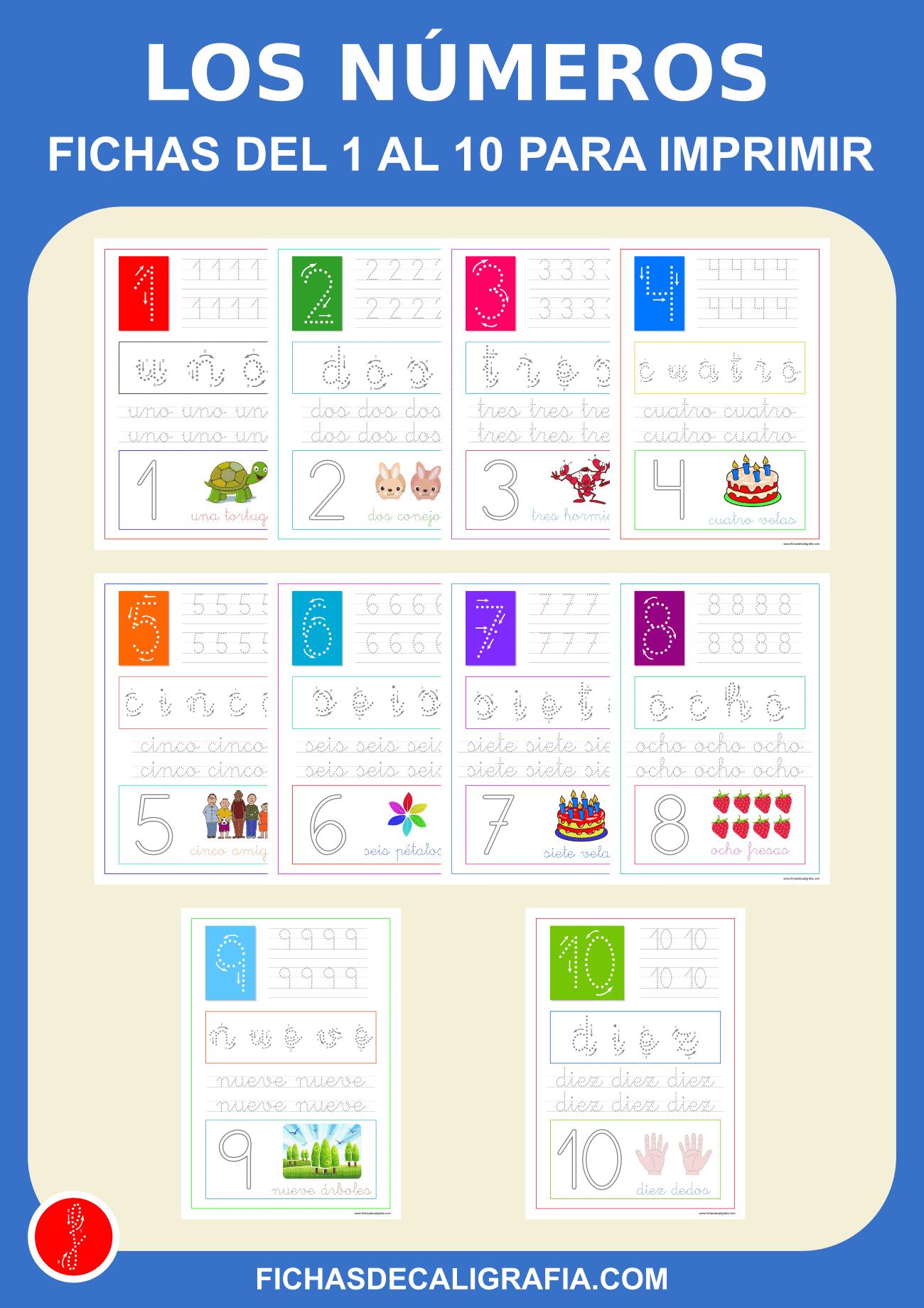 Fichas de números del 1 al 10 para imprimir