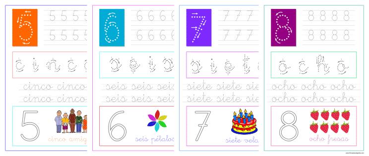 Aprender a escribir los números cinco, seis, siete y ocho