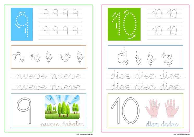 Fichas de números del 1 al 10 para imprimir, números nueve y diez