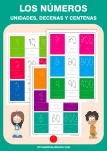 Fichas de números con unidades, decenas y centenas, recursos educativos
