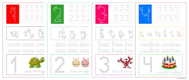 Aprender a escribir los números uno, dos, tres y cuatro