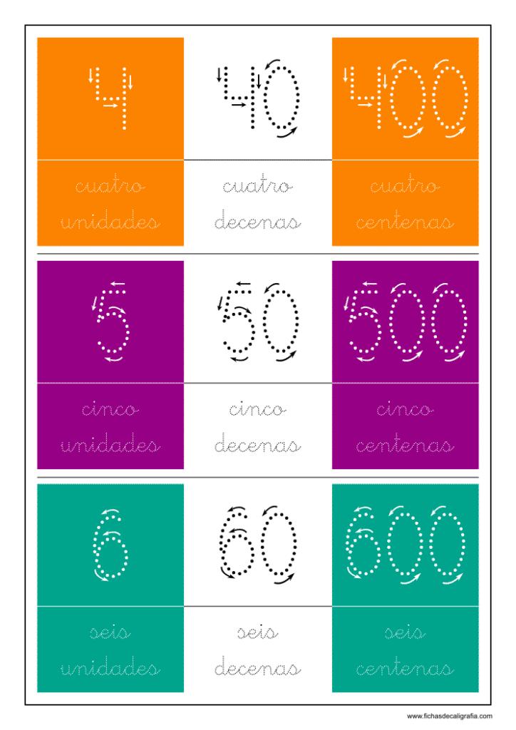 Ficha de 4-5-6 unidades, 40-50-60 decenas y 400-500-600 centenas