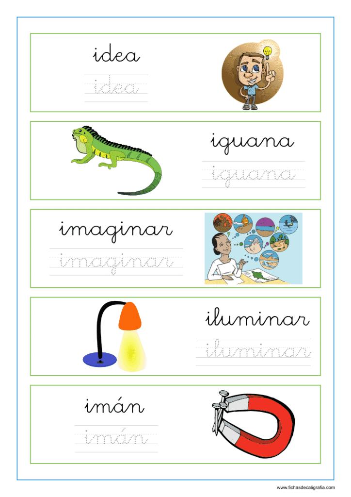 """Ficha de lectoescritura con palabras que empiezan la letra """"i"""""""