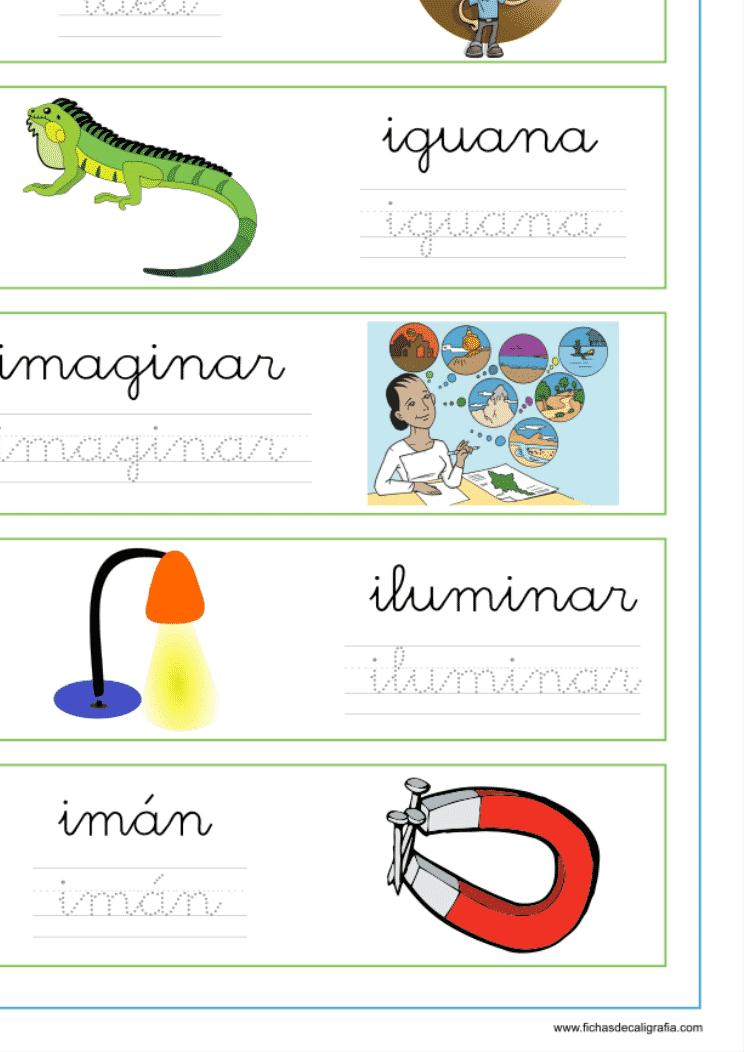 """Recursos educativos, ficha de lectoescritura con palabras que empiezan la letra """"i"""""""