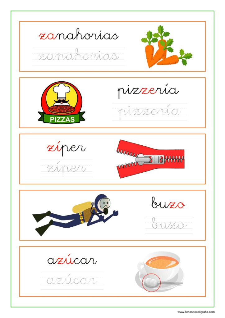 Ficha de lectoescritura con palabras que empiezan o contienen za, ze, zi, zo y zu.