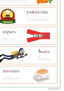 Recursos educativos, Ficha de lectoescritura con palabras que empiezan o contienen za, ze, zi, zo y zu.