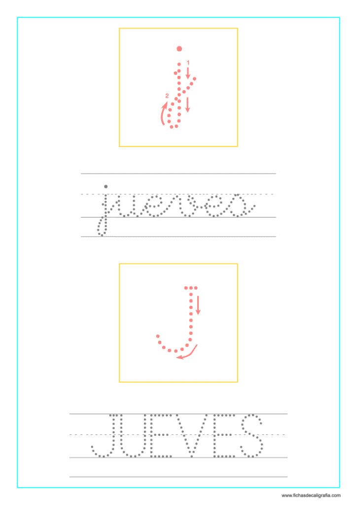 Ficha de lectoescritura y caligrafía del jueves