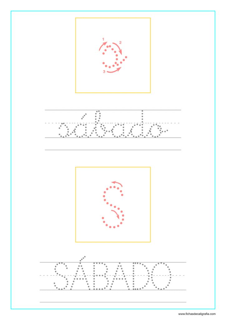 Ficha de lectoescritura y caligrafía del sábado