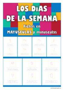 Fichas de lectoescritura de los días de la semana en mayúsculas y minúscula
